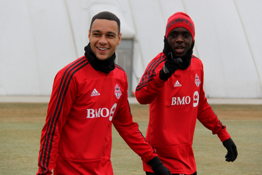 Gregory van der Wiel & Chris Mavinga - Toronto FC training ground